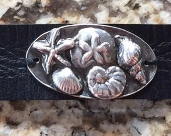 She Sells Sea Shells - Fine Silver and Leather Cuff Bracelet - Original Handmade Art Jewelry