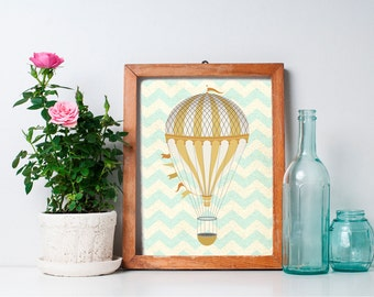 75% OFF SALE - Hot Air Balloon Decor - 8x10 Nursery Art, Hot Air Balloon Print, Home Decor, Nursery Decor, Printable Art, Wall Art