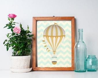 70% OFF SALE - Hot Air Balloon Decor - 8x10 Nursery Art, Hot Air Balloon Print, Home Decor, Nursery Decor, Printable Art, Wall Art