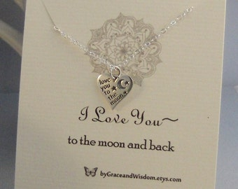 I Love You To The Moon And Back,Moon,Necklace,Woodland Necklace,Moon Necklace,Love Neckalce,Minimalist Necklace,Butterfly,Sterling Necklace