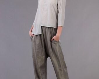TOP, Pinstriped Jersey Asymmetric Top, Crop Top, Gray Top, Kimono