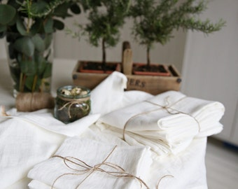 Linen Table Set | Linen Tablecloth | Napkins | Tea Towels | Handmade Linen Tablecloth | Washed Linen Table Set