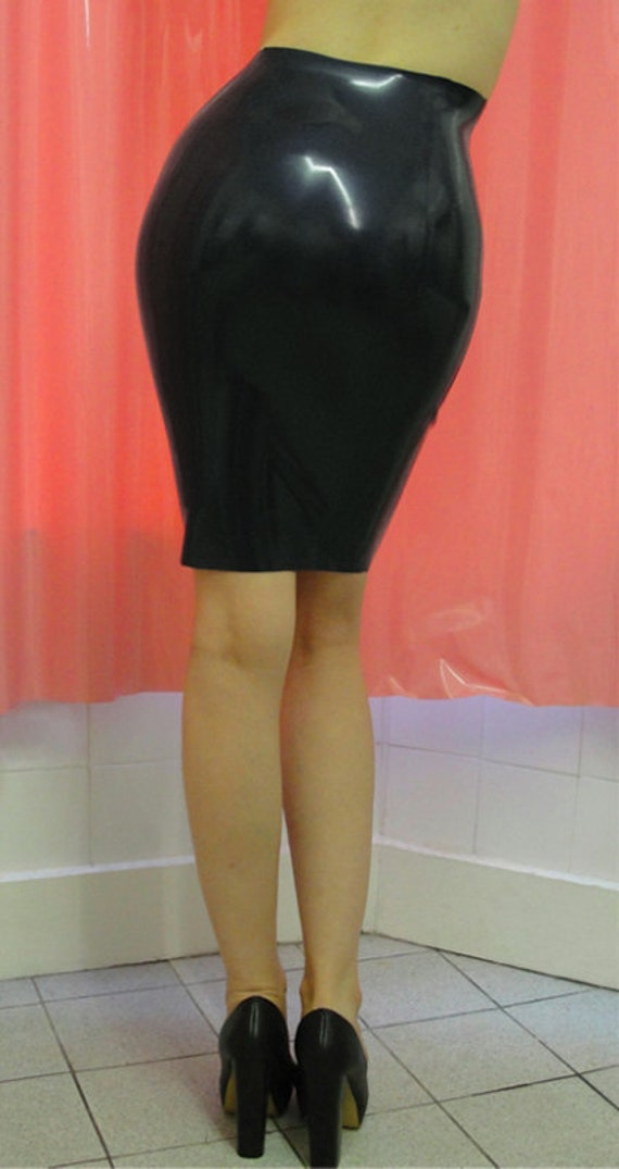 items similar to rubber pencil skirt knee length