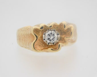 0.40 Carat Man's Round Cut Diamond Solitaire Ring Yellow Gold