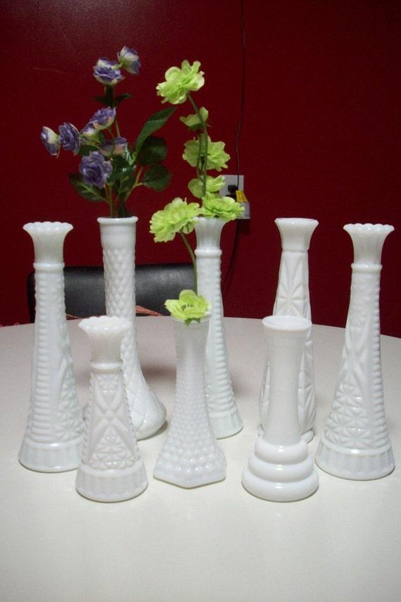 Vintage white milk glass wedding centerpiece vases e o