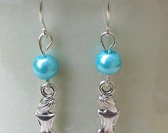 Mermaid & Pearl Drop Earrings