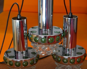 Three vintage Raak design pendant lamps in chrome with glass, green plastic accents, mid century modern, Dutch design, sixties
