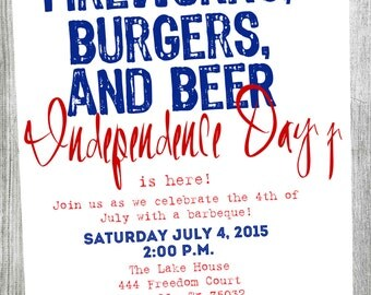 Printable 4th of July Invitation Customization Available