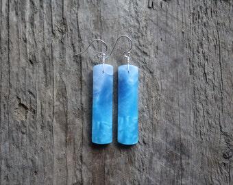 Blue Jasper Stone Bar Earrings-Silver