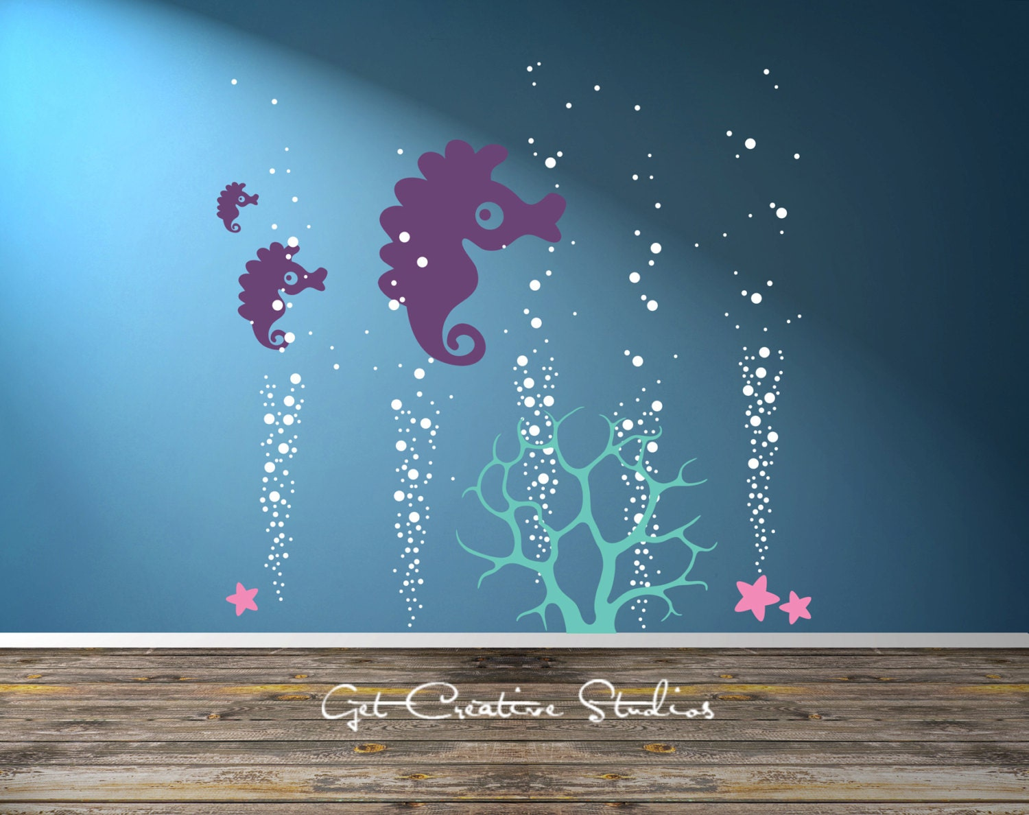 seahorse decal ocean coral decal nursery wall decal deep sea. Black Bedroom Furniture Sets. Home Design Ideas