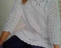 Handmade crochetblouse, summer crochet top, romantic sweater, crochet jumper women crochet clothes MADE TO ORDER