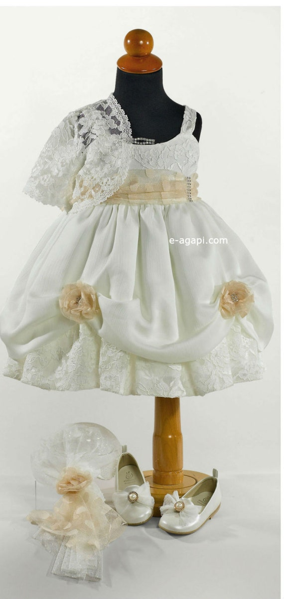 3pc Couture baby dress Wedding white beige elegant lace