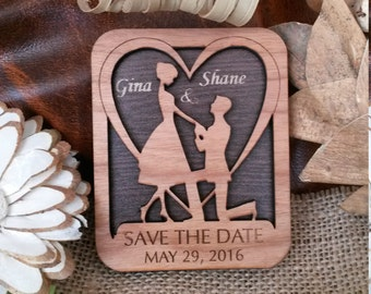 Wood Save-The-date Magnet /Personalized  Wooden Wedding magnet/Engraved Save-The-date Magnet/Rustic Magnet/Magnet Save-The-Date wooden card