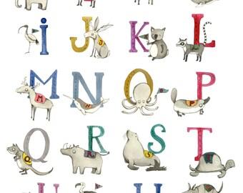 Animal Alphabet Cards! Entire Alphabet, kids room, decoration
