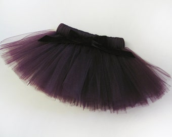 Parisian Eggplant Purple Dog Tutu with Velvet Bow - Dark Purple Pet Costume