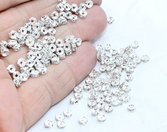20 Pcs Spacer Beads 4mm , Rhinestone spacer Beads , Rondelle Beads , Tiny Spacer Beads , KA62