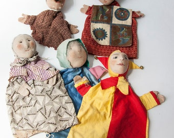 Unique collection of 8 antique and vintage glove puppets PRICE REDUCED!