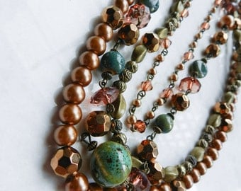 Handmade Multi Strand Brown, Blue, Green, and Bronze Beaded Necklace