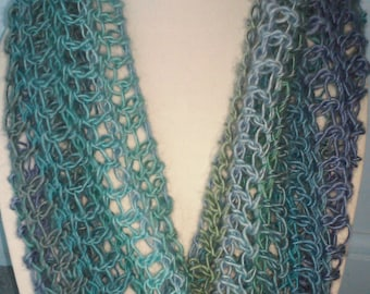 Lightweight summer cowl infinity scarf in shades of the ocean.  Blue and green infinity scarf. Lacy infinity scarf.