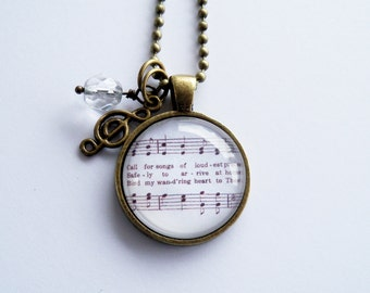 Come Though Fount Necklace - Hymn Jewelry - Bind My Wandering Heart To Thee - Inspirational Jewelry - Custom Jewelry -  Music Pendant