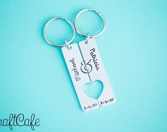 Hand Stamped Couples Keychain Set Anniversary Date with Names - Wedding Gift - His and Hers - Hand Stamped Jewelry