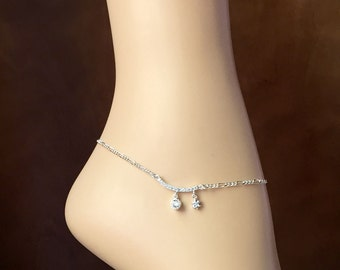 Stunning Bridal Anklet -Cubic Zirconia Pendant-Silver Plated Chain-Optional Extender-Summer Beach Wedding Jewelry-With Gift Box