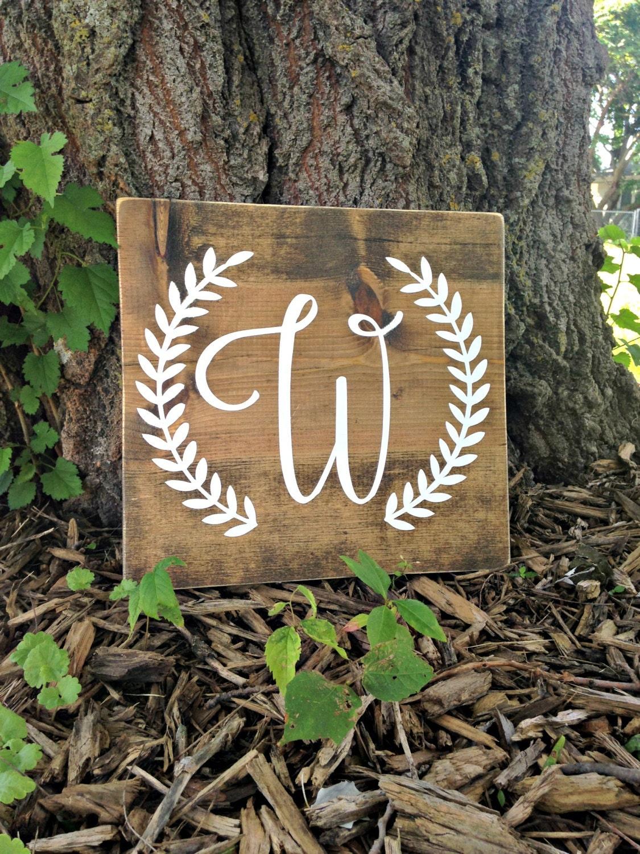 initial sign last name wood sign monogram sign last name