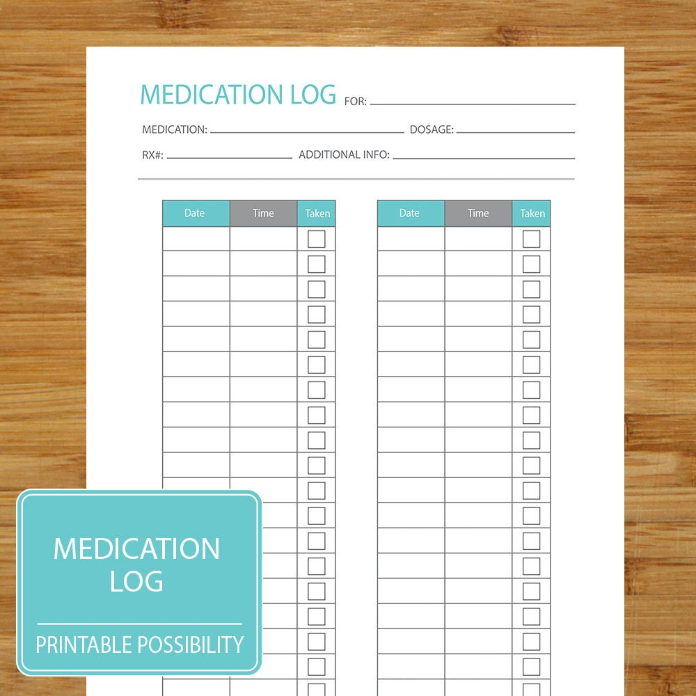 medication log printable page to track medication dosage. Black Bedroom Furniture Sets. Home Design Ideas