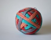 """Dyed to Order: """"It's Not Rocket Science (self-striping)"""" - Red, Peach, Aqua Blue, Gray Stripes"""
