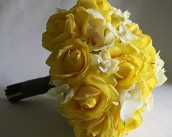Yellow and white bouquet, Roses, lilies, orchids, Real Touch flowers, silk wedding flowers, Bride and Groom set