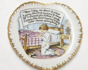 Vintage prayer wall hanging, porcelain plate, now I lay me down to sleep, boy kneeling