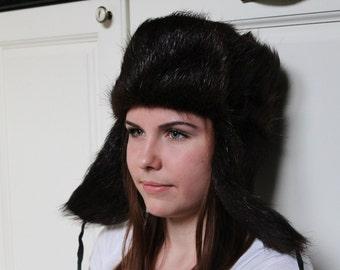 Soviet Ushanka Nutria Fur Hat, Vintage Dark Brown Natural Fur Cap, Lumberjack Hat Size 55CM Warm Winter Hat with Ear Flaps, Made in USSR.