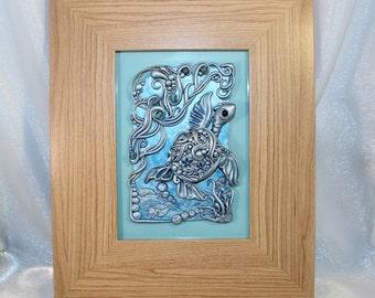 Caspian the Sea Turtle Blue and Silver Collectible Wall Art Applique Sculpture LittleFantasyFriends by Dani-elle