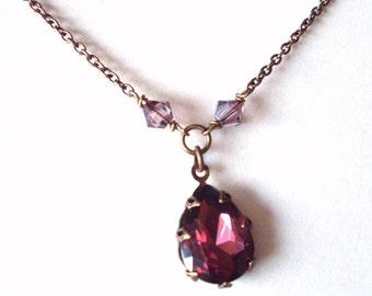 Aubergine rhinestone pendant necklace, antiqued brass, glass pear drop, Austrian crystal dark brass chain, vintage style Aubergine jewelry,