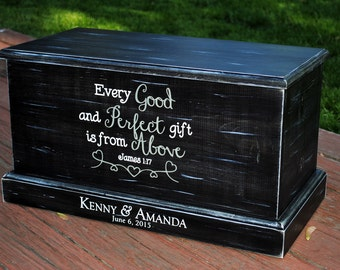 Wood Chest Box. This distressed wooden chest is perfect for your home as a wedding gift / nursery room etc.  Customization available.