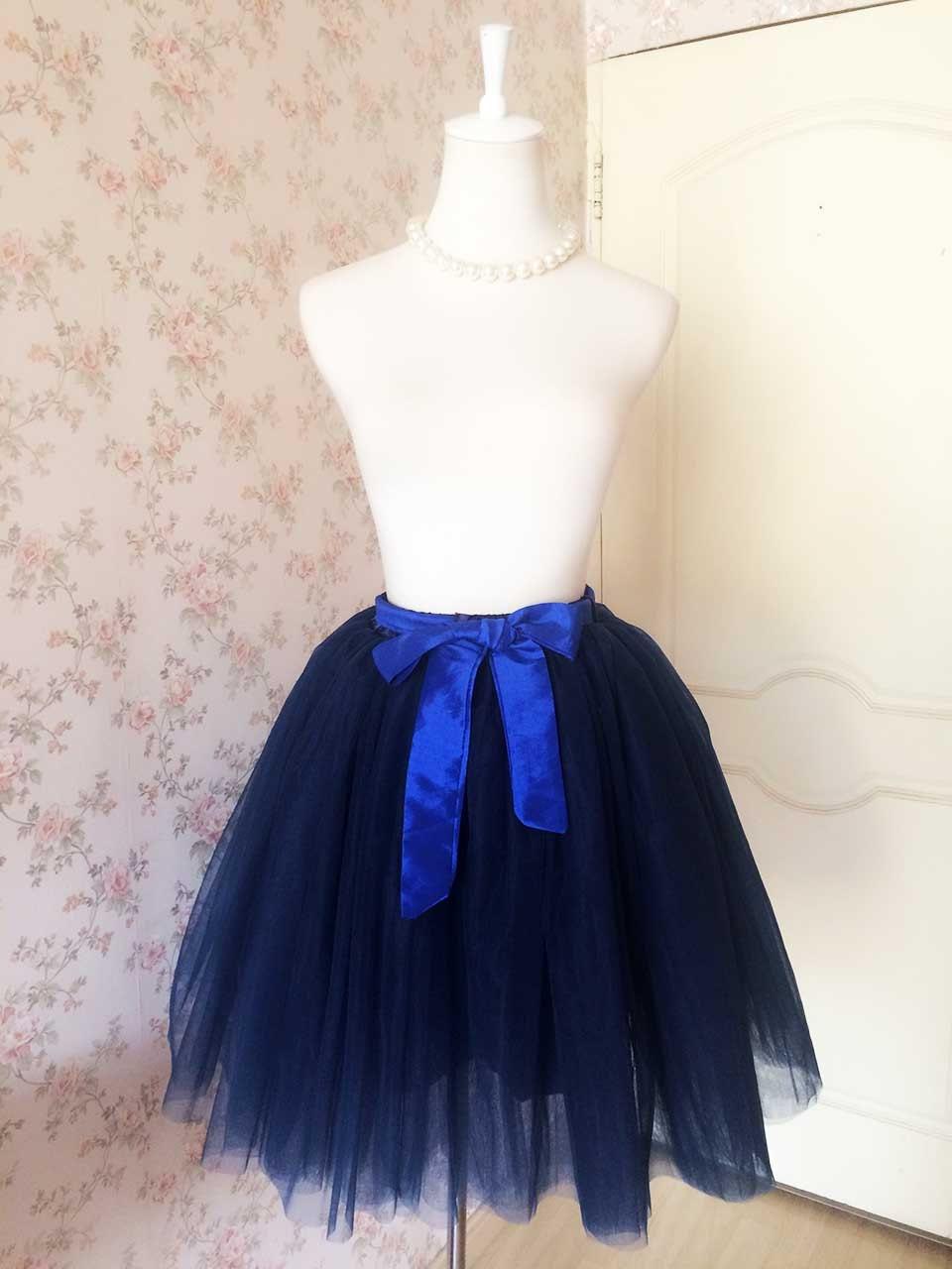 Romantic navy tulle skirt women tulle skirt adult tutu for Plus size wedding dress petticoat