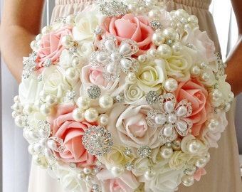 Elegant Ivory Pink Wedding Bridal Vintage Style Bouquet Brooch Bouquet Pearl Artificial flowers