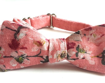 Floral Bowtie Dusty Pink Linen - Adjustable Self-tie - Freestyle Bow Tie