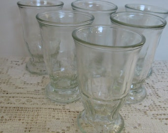 Footed Juice Glasses, Clear Glass, Set of 6, Hexagon Base,Vintage Juice,Smaller 3.5 ounces/two sets still available