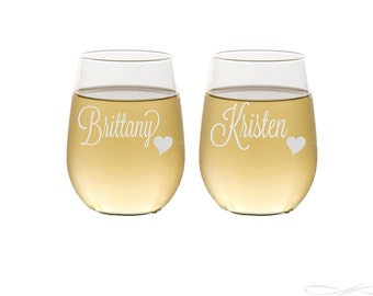 Stemless Wine Glasses / Personalized Bridesmaids Gifts / Engraved Wine Glasses / 16 DESIGNS / Select ANY Quantity