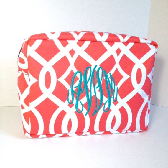 Monogrammed Makeup Bag, Coral Makeup Bag, Personalized Cosmetic Bag, Coral Cosmetic Pouches, Bridesmaids Gifts, Bridal Shower Gift