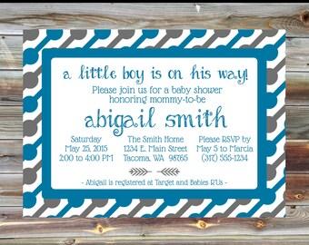 Blue and Grey Rattle Theme Baby Shower Invite - Personalized Custom Baby Shower Invitation - Printable Digital Baby Boy Shower Invitation