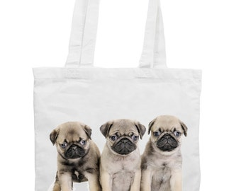 Pug Puppies Cotton Tote Shopping Bag