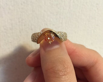 14K Yellow Gold Champagne Cubic Zirconia Ring