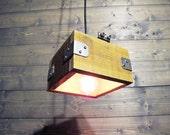"7"" Sqaure Pallet Porcelain Socket - Reclaimed Pendant Light - Upcycled Industrial Pallet Wood Ceiling Light"