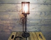 """Table Lamp w/ Rusted Cage 22"""" Tall with Repurposed Iron Weight - Upcycled Iron Weight Lifting 2.5 lb Weight Circa 1970 with Steel Pipe"""