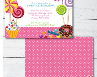 Lollipop/Candy Party Invitation