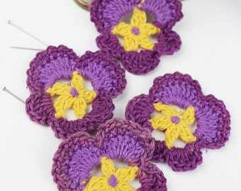 Crochet Pansy 4pk Crochet Flower Crochet Appliques Pansies Handmade Flowers crafts accessories jewellery supplies decoration confetti