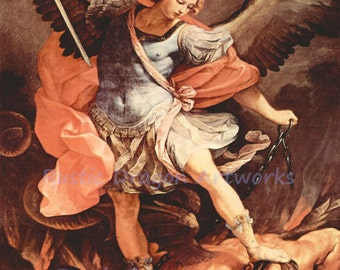 "Guido Reni ""Archangel Michael"" C1636 Reproduction Digital Print"