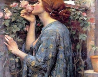 "John William Waterhouse ""My Sweet Rose"" Woman Smelling a Rose Pink Roses 1908 Reproduction Digital Print"
